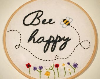 Bee Happy hand embroidery art