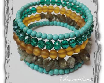 Cuff Bracelet colorful, MULTISTRAND bracelet, memory, natural stone bracelet, gems, summer,