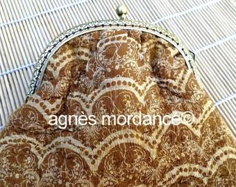 "Clutch ""Vera"" - art deco silk white felted wool Merino, bronze clasp - OOAK"