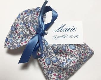 10 personalized dragees in Liberty Eloise Lavender sachets