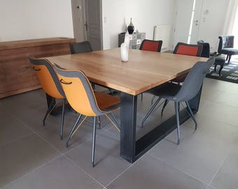 Dining table industrial style square solid oak