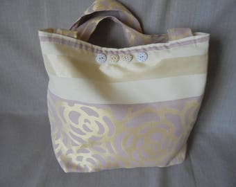 SHIPPING overnight Tote bag lined shopping tote bag: ivory, gold and purple lining.