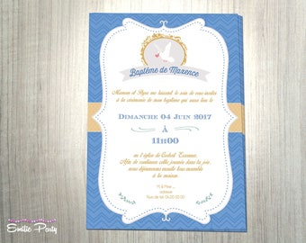 Customizable, printable, blue and gold baptism invitation