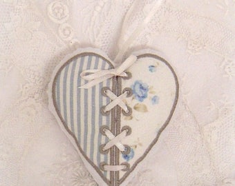 Blue embroidered heart and taupe fragrant Magnolia hanging