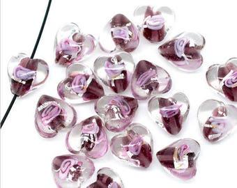 3pcs Perles Coeur 12mm en Verre Fleuri Pourpre Rose et Feuille d'Argent