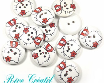 2-Hole Wooden Buttons, Printed Flat Round Button, Hello Kitty, Colorful, 23x4.5mm, Hole: 2mm