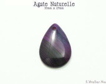 Agate drop pendant purple natural 33mm x 29mm
