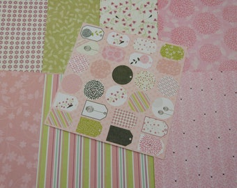 Assortment of fancy for scrapbooking paper, floral