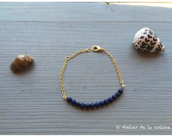 Lapis Lazuli and gold chain bracelet