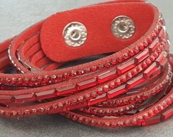 2 Cuff Bracelet turns red Rhinestones, red rhinestone bracelet, cuff bracelet