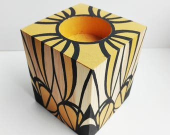 Handpainted wood candle holder