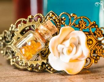 Bracelet baroque steampunk inspired bronze adjustable filigree - rose and flask