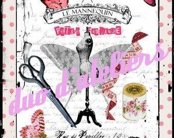 """""""the small sewing factory and butterflies"""" digital image for transfers"""