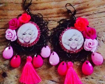 "Pair of earrings from the series ""i Love Maryline"", entirely make by hand."