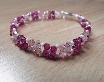 Handmade bracelet with 4 mm swarovski bicone beads.
