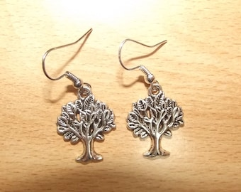 Earrings tree charm, handmade.