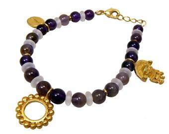 24K GP Precolumbian bracelet 3 charms semi precious stones PD015