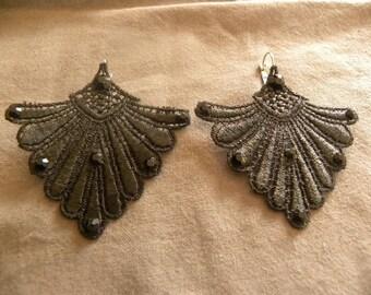 Black Lace and rhinestone earring