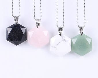 A pretty pendant hexagonal stone choice mounted on chain within 15 days