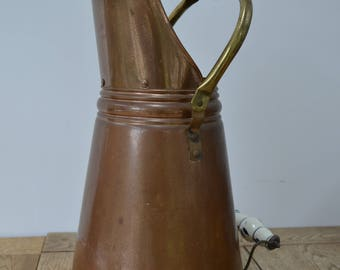 French Copper Coal Scuttle / Umbrella Stand with Delft Porcelain Handle