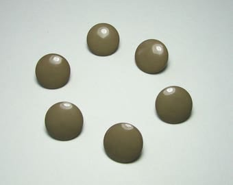 Set of 6 round buttons, 14 mm, flat, with placket, Khaki beige, synthetic.