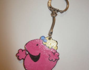 wooden Lady, pink keychain