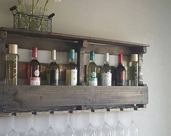 Wedding gift, Housewarming Gift, Pallet Wine Rack, Wine Rack, Unique Wine Rack, Rustic Shelf, Wine Shelf, Wine, Wall Decor, Home Decor