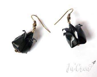 Origami lotus flowers black earrings