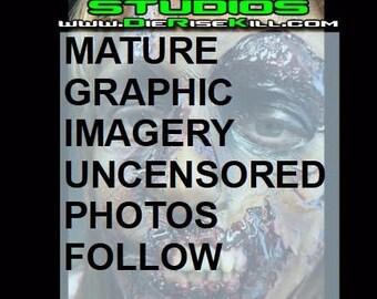 "Zombie Half Face Latex Prosthetic ""ZELVIS"" created by DRK Studios"