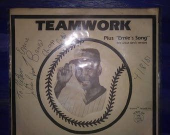 Autographed Ernie Banks Record