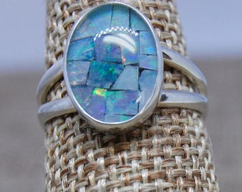 Opal Mosaic Triplet Ring Stering Silver size 7