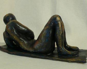 The Banquet, bronze patina sculpture