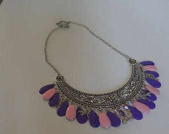 SPRING PINK PURPLE BIB NECKLACE