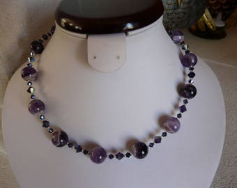 PURPLE AGATE NECKLACE AND SWAROVSKI CRYSTAL
