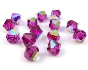 20 x Swarovski® 6 mm Fuchsia AB Crystal bicones