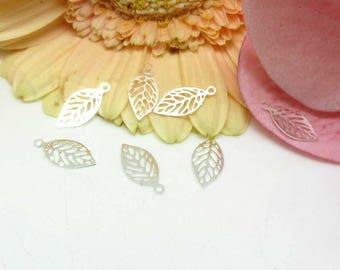 10 Mini silver - filigree leaf charms prints 11 * 5.3 mm