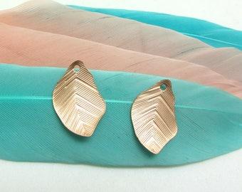 Set of 2 wavy leaf charms Rose Gold Metal - 15 mm