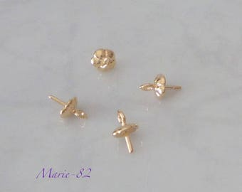 Stems caps for beads Semi-pierced - plated gold