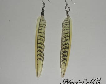 Earrings feathers natural yellow