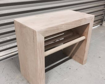 Bedside table with dowel shelf