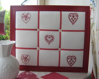 Frame collage style country chic hearts embroidered on linen