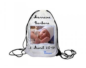 Backpack strap personalized, christening Godfather godmother with photo