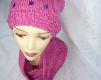 Hat and long soft matching snood - hot pink