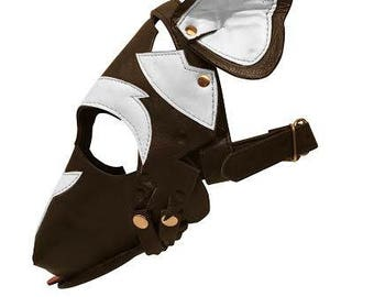 Leather Dog Puppy Play Mask Black and White Removable Muzzle