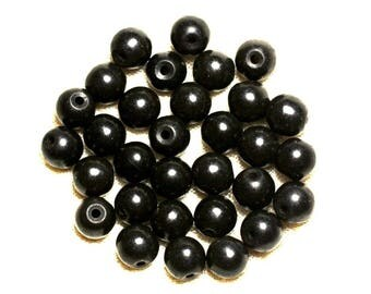 20pc - synthetic Turquoise beads 8mm black 4558550022752 balls