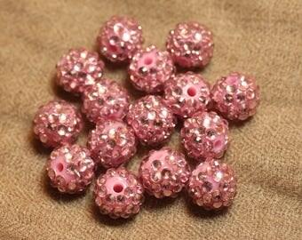 5pc - pearls Shamballas resin vintage pink 4558550026644 14x12mm
