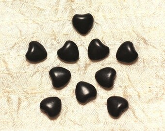 10pc - beads Turquoise synthetic hearts 11 mm black 4558550031419