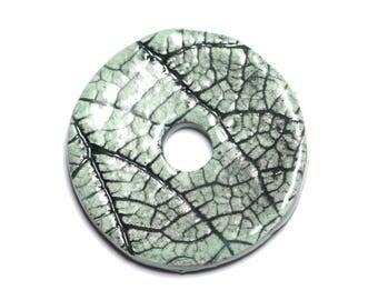 No. 89 - porcelain ceramic Nature pendant Donut Pi 37mm Green Turquoise - 8741140004726 leaves