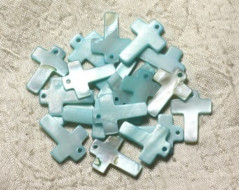 4pc - beads 22mm blue Turquoise 4558550004956 cross Pearl charms