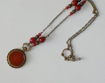 Vintage necklace Nazire carnelian pendant style pocket watch